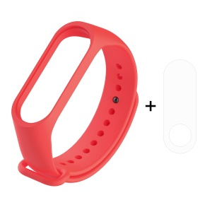 For Xiaomi Mi Smart Band 4 / Mi Band 3 Adjustable Soft Silicone Watch Band Strap + Full Covering TPU Screen Protector - Red