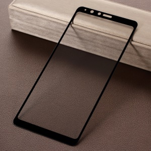5D Curved Full Size Silk Print Tempered Glass Screen Protector for Samsung Galaxy A8 Star / A9 Star - Black