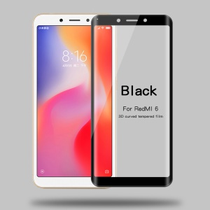 MOFI 3D Curved Full Size Tempered Glass Screen Protector for Xiaomi Redmi 6 (Dual Camera: 12MP+5MP) - Black
