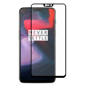 HAT PRINCE Full Glue Full Size 0.26mm 9H 2.5D Arc Edge Tempered Glass Screen Protector for OnePlus 6 - Black