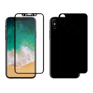 HAT PRINCE for iPhone X Full Glue Full Size Tempered Glass Front Screen Protector + Back Film 0.26mm 9H 2.5D Arc Edge