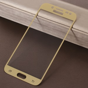 RURIHAI 0.26mm 2.5D Curved Tempered Glass Full Size Screen Protector for Samsung Galaxy J5 (2017) / J5 Pro (2017) - Gold