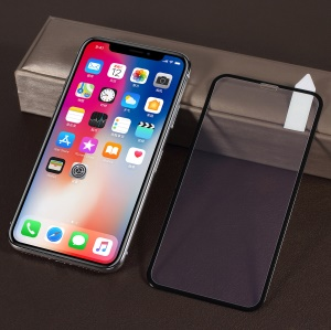 RURIHAI for iPhone XS / X 5.8 inch 3D Carbon Fiber Anti-blue-ray Crack-resistant Edges Full Size Tempered Glass Protector - Black