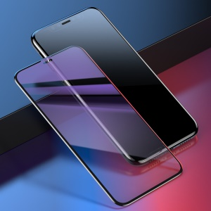 BASEUS 0.23mm Curved-screen Tempered Glass Screen Protector Film with Crack-resistant Edges (Anti-blue-light) for iPhone XR 6.1 inch - Black