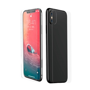 BASEUS 0.3mm Full Coverage Curved Tempered Glass Front Film + Back Film Set for iPhone Xs - Transparent