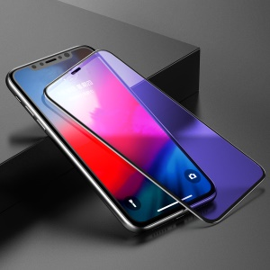 BASEUS 0.3mm Rigid-edge Anti-blue-ray Curved Tempered Glass Full Screen Protector for iPhone XR 6.1 inch - Black