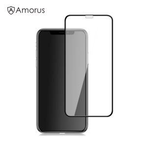 AMORUS Full Size Silk Print 9H Tempered Glass Screen Protector Film for iPhone Xs 5.8 inch