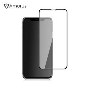 AMORUS Full Size Silk Print 9H Tempered Glass Screen Protector Film for iPhone Xs Max 6.5 inch