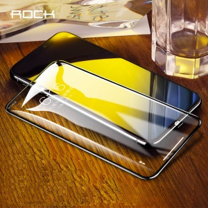 ROCK for iPhone Xs Max 6.5 inch 0.23mm 7D Cold Carving Full Coverage Tempered Glass Screen Protector with Soft Edge