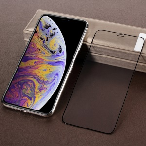 Full Coverage Silk Print Tempered Glass Screen Guard Film for iPhone XS Max 6.5 inch - Black
