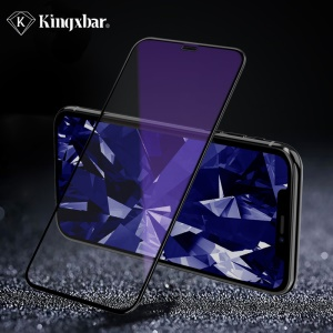 KINGXBAR 2.5D Silk Print Anti-blue-ray Full Covering Tempered Glass Screen Protection Film for iPhone XR 6.1 inch