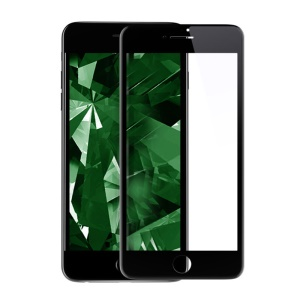 KINGXBAR 3D Curved Silk Printing Clear Tempered Glass Screen Film for iPhone 8 Plus / 7 Plus Full Cover - Black