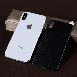 RURIHAI 3D Carbon Fiber TPE Full Back Covering Protector Film for iPhone XS / X 5.8 inch - Black