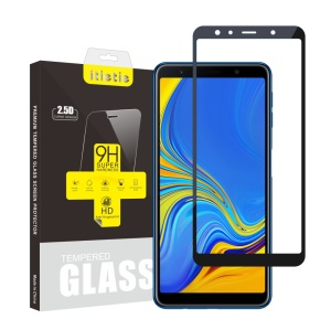2Pcs/Set ITIETIE Silk Printing 2.5D 9H Tempered Glass Film for Samsung Galaxy A7 (2018) Anti-explosion Full Covering Screen Protector - Black
