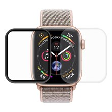2PCS HAT PRINCE for Apple Watch Series 4 40mm 3D Full Size Curved Hot Bending HD Clear PET Films - Black/Transparent