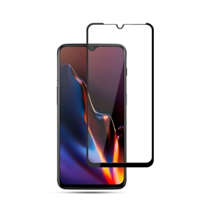 MOCOLO Silk Print Arc Edge Full Coverage Tempered Glass Screen Protector for OnePlus 6T - Black
