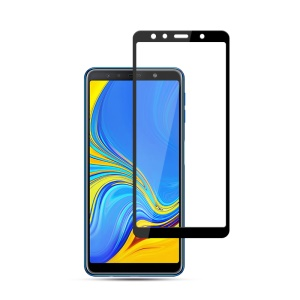 MOCOLO Complete Coverage Silk Print Full Glue Tempered Glass Screen Guard Film for Samsung Galaxy A7 (2018) - Black