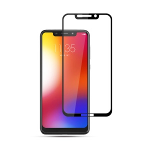 MOCOLO Silk Print Complete Coverage Tempered Glass Screen Protector for Motorola One / P30 Play - Black