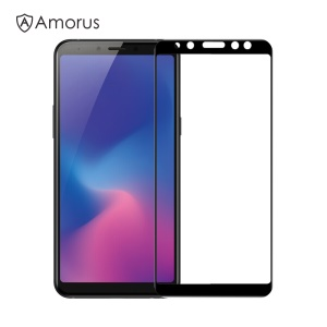 AMORUS for Samsung Galaxy A6 (2018) 9H Silk Printing Full Size Tempered Glass Anti-explosion Screen Protector [Full Glue] - Black