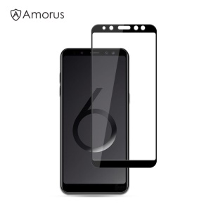 AMORUS 9H Silk Printing Full Size [Full Glue] Tempered Glass Anti-explosion Screen Protector for Samsung Galaxy A6 Plus (2018) - Black