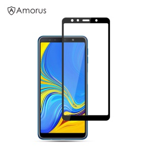 AMORUS Full Glue Tempered Glass Full Screen Shield Anti-scratches for Samsung Galaxy A7 (2018) - Black