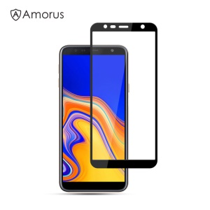 AMORUS for Samsung Galaxy J4 Plus 9H Silk Printing Full Size [Full Glue] Tempered Glass Anti-explosion Screen Protector - Black