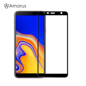 AMORUS Silk Printing Full Size 9H Tempered Glass [Full Glue] Anti-explosion Screen Protector for Samsung Galaxy J6+ (2018) - Black