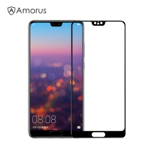 AMORUS Full Glue Silk Printing 9H Tempered Glass Full Size Screen Shield for Huawei P20 - Black