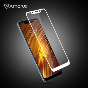 AMORUS for Xiaomi Pocophone F1 / Poco F1 (India) 9H Silk Printing Full Size Tempered Glass Screen Protion Guard Film [Full Glue] - White