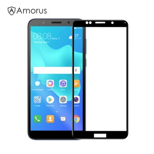 AMORUS Full Glue Silk Printing Tempered Glass Full Screen Protector for Huawei Y5 (2018) / Y5 Prime (2018) / Honor 7s / Play 7 - Black