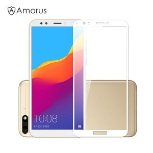 AMORUS [Full Size] [Full Glue] [9H] Tempered Glass Screen Guard Film for Huawei Y6 (2018) / Honor 7A (without Fingerprint Sensor) - White