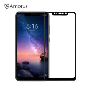 AMORUS for Xiaomi Redmi Note 6 Pro Tempered Glass Protector [Full Screen Covering] [Full Glue] [9H] [Anti-explosion] - Black