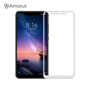 AMORUS for Xiaomi Redmi Note 6 Pro Tempered Glass Full Screen Covering Protection Film [Full Glue] [9H] [Anti-explosion] - White