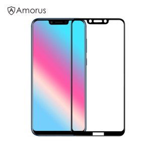AMORUS Full Colour Tempered Glass Protetor De Tela Cheia Anti-arranhões Para Huawei Honor Play - Preto