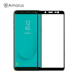 AMORUS Full Glue Tempered Glass Anti-explosion Full Screen Protector for Samsung Galaxy J6 (2018) - Black