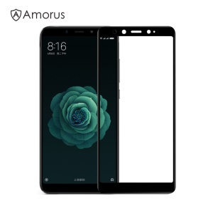 AMORUS Full Glue Tempered Glass Full Screen Covering Protector for Xiaomi Mi A2 / Mi 6X - Black