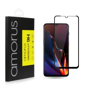 AMORUS for OnePlus 6T 9H Silk Printing Full Size Tempered Glass Anti-explosion Screen Protector [Full Glue] - Black