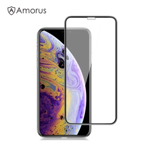 AMORUS 3D Curved Anti-explosion Tempered Glass Full Screen Protector for iPhone XS Max 6.5 inch - Black