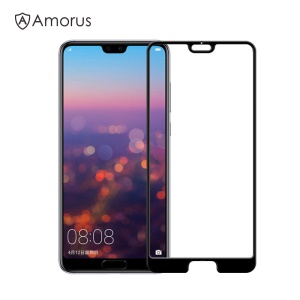 AMORUS for Huawei P20 Pro 3D Curved Tempered Glass Full Size Screen Shield [Anti-explosion] - Black