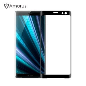 AMORUS for Sony Xperia XZ3 3D Curved Tempered Glass Anti-explosion Full Screen Protector - Black