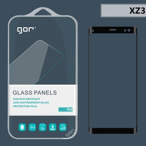 GOR 3D Curved Full Coverage Tempered Glass Screen Protector Film for Sony Xperia XZ3 - Black