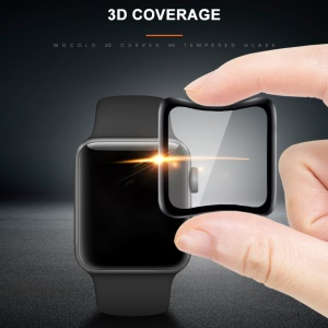 MOCOLO 3D Soft Carbon Fiber Edges Tempered Glass Protector for 42mm Apple Watch Series 3 / 2 / 1 - Black