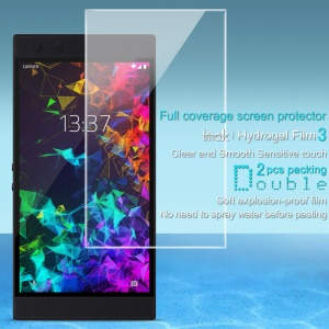 2Pcs/Set IMAK Hydrogel Film 3 [Clear and Smooth Sensitive Touch] Full Screen Guard Film for Razer Phone 2