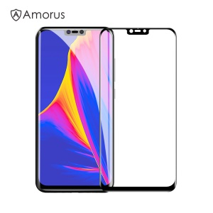 AMORUS Silk Print Full Cover Tempered Glass Screen Protector for Xiaomi Redmi Note 6 / Mi 8 Lite / Mi 8 Youth (Mi 8X) - Black