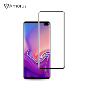 AMORUS for Samsung Galaxy S10 Plus 3D Curved Full Cover Tempered Glass Screen Protector (Case-Friendly Scaled-Down Version)