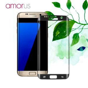 AMORUS para Samsung Galaxy S7 borda G935 Impressão de seda Full Size Curved Tempered Glass Screen Film - negro