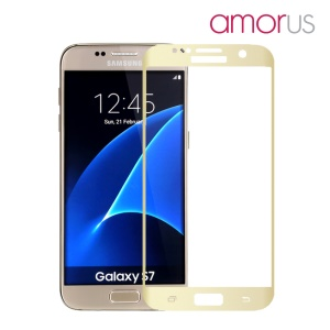 AMORUS pour Samsung Galaxy S7 G930 Silk Print Full Size Curved Screen Protector Verre Trempé - Gold