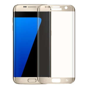 For Samsung Galaxy S7edge G935 3D Full Size Silk Print Tempered Glass Screen Protector 0.2mm - Gold