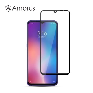 AMORUS Full Glue Silk Printing Tempered Glass Full Screen Protector for Xiaomi Mi 9