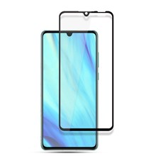 AMORUS Full Glue Silk Printing Tempered Glass Full Screen Protector for Huawei P30